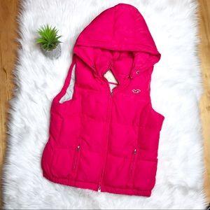Hollister Pink Down Hooded Vest